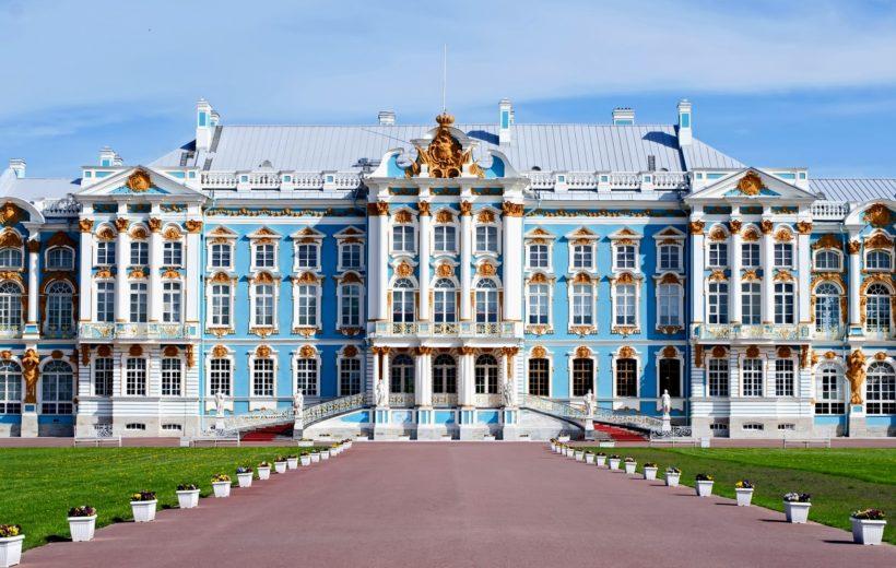 Пушкин (Царское село): Екатерининский дворец, Янтарная комната, парк.